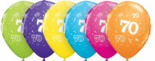 70th Assorted Colour Balloons 6 Pack